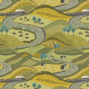 Lewis & Irene - Littondale - 6513 - Dales Scene in Gold & Green - A355.1 - Cotton Fabric